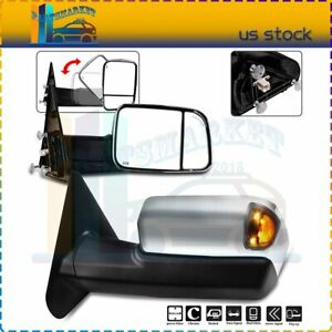 Chrome Power Heated Turn Signals Tow Mirrors L R For 2002 08 Dodge Ram 1500 3500