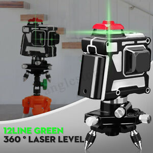 360 12 Line 3d Green Light Laser Level Measure Tool tripod