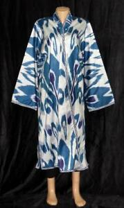 Uzbek Beautiful Handmade Natural Cotton Ikat Robe Chapan A11573