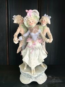 Delightful Fine Antique French Bisque Trio Figurine