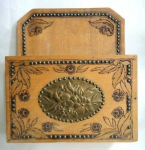 Antique Arts Crafts Cutlery Box Wood Brass Plate