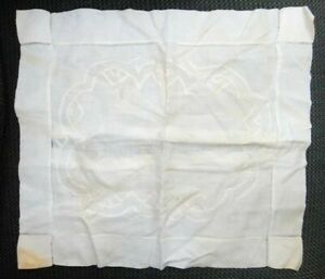 1800s Antique Embroidered Pillow Cover Case W Buttons Linen 15 X 13 1 2