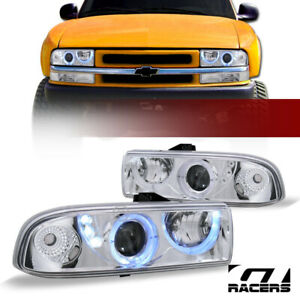 For 1998 2004 Chevy S10 Blazer Pickup Chrome Halo Led Projector Headlights K2