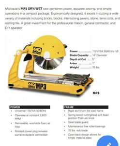 New Multiquip Mp3 Compact Masonry Saw 14 2 5 Hp 115 V Dry wet