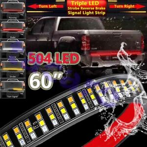 60 Inch Triple Row Led Truck Tailgate Light Bar Rear Strip For Chevrolet Chevy