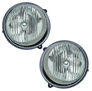 2005 2007 Jeep Liberty Driver Passenger Headlights Lamps Assembly Pair Set