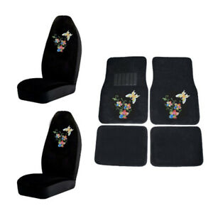 Butterfly W Flower Crystal Studded Rhinestone Floor Mats Seat Covers Combo 6pc