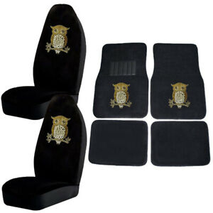 Golden Owl W hearts Crystal Studded Rhinestone Floor Mats Seat Covers Combo 6pc