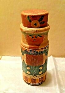 Antique Wood Round Early Painted Decorated Figural Container