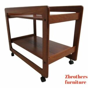 Vintage Custom Danish Modern Floating Solid Teak T Tea Cart Bar Liqour Cabinet