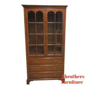 Baker Milling Road Chippendale Breakfront Hutch China Curio Cabinet Regency A