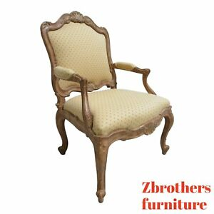 Custom Vintage French Louis Xv Quality Carved Fireside Lounge Arm Chair Fauteuil