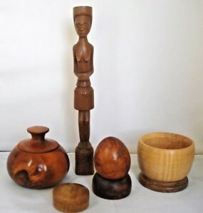 Treen Job Lot Turned Wooden Bowl Lidded Containers Egg Stand African Carving
