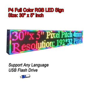 30 x 5 Rgb Full Color P4 Led Sign Programmable Scrolling Message Display
