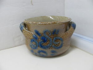 Vntage Stoneware Pottery Brown Salt Glaze With Cobalt Crock With Handles
