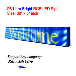 30 x 5 P8 Full Color Semi Outdoor Led Sign Programmable Scrolling Message Board