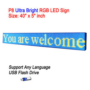 40 x 5 P8 Full Color Semi Outdoor Led Sign Programmable Scrolling Message Board