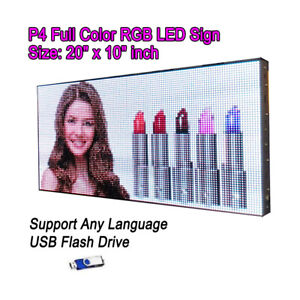 20 x 10 P4 Full Color Video Hd Led Sign Programmable Scrolling Message Display