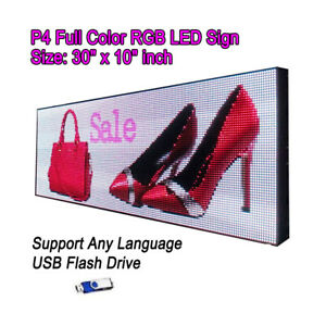 30 x 10 P4 Full Color Video Hd Led Sign Programmable Scrolling Message Display