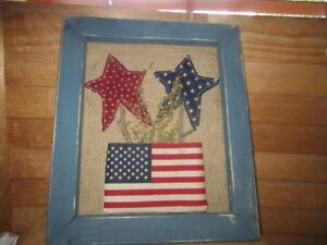 Primitive Americana Blue Frame Stars Flag 4th Of July