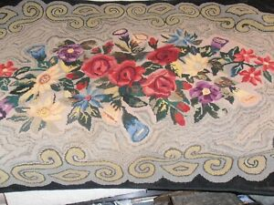 Antique Vintage Hand Made Floral Hooked Rug 34 X 58 Primitive Punch Hook