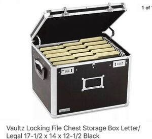 Vaultz File Chest Storage Box Letter 17 1 2 X 14 X 12 1 2 Black idevz01008