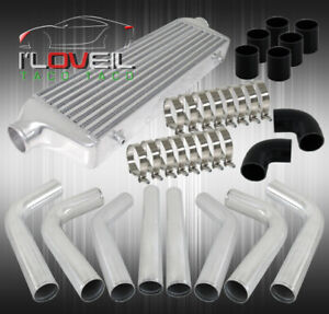 Front Mount Intercooler Bar And Plate turbo Piping Pipe Kit Polish