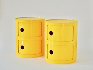 Pair Componibili By Anna Castelli For Kartell Rare Yellow Color Space Age