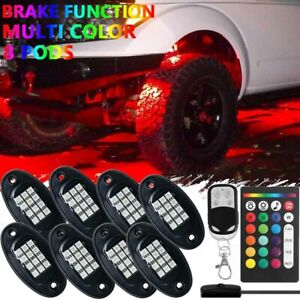 8 Pod Neon Led Rock Light Kit Rgb Underglow For Offroad Car Truck Boat Remote