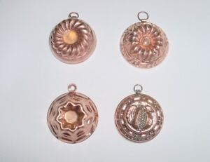 Set Of 4 Beautiful Antique Small French Copper Molds