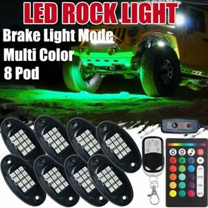 8 Pod Neon Led Rock Light Rgb Underglow For Toyota Atv Offroad Car Truck Boat