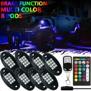 8 Pod Led Rock Light Neon Under Glow Music Control Kit For Jeep Truck Offroad