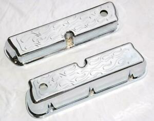 Small Block Ford Tall Chrome Aluminum Flame Valve Covers 289 302 351 Flamed Sbf