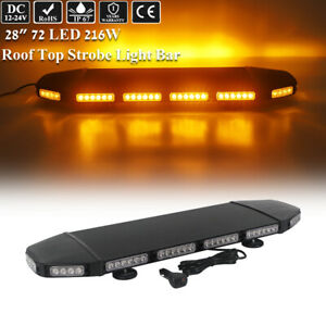 216w 28 Led Amber Warning Emergency Beacon Flash Rooftop Truck Strobe Light Bar