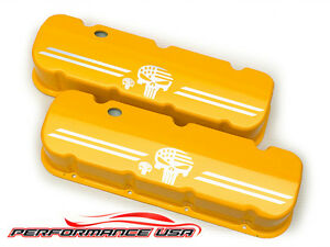 Big Block Chevy Punisher Logo Die Cast Aluminum Yellow Powder Coat Valve Covers