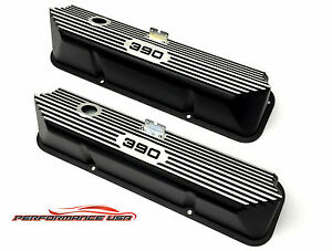 Brand New Ford Fe 390 Deep Laser Engraved Color Filled Black Valve Covers