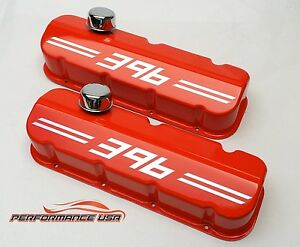Big Block Chevy 396 Die Cast Aluminum Orange Valve Covers