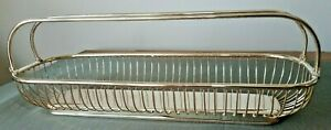 Silver Plated E P Brass Art Deco Bread Basket Vintage