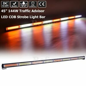 144w 45 8 Led Cob Amber White Warning Emergency Traffic Adviser Strobe Lightbar