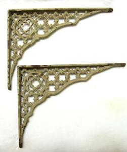 Antique Ornate Cast Iron Shelf Brackets Pair Chipping Paint Tan Vtg Rust 8 X6
