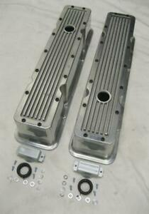 1958 1986 Small Block Chevy Tall Polished Aluminum Retro Finned Valve Covers Sbc