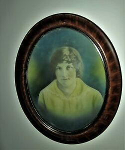Antique Convex Bubble Glass Oval Wood Frame Picture