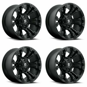 Set 4 18 Fuel Vapor D560 Black Wheels 18x9 6 Lug 6x135 6x5 5 19mm Truck Rims