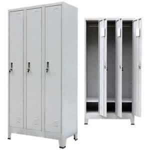 Locker Cabinet Heavy Duty Office School Storage Organizer 3 Compartments Metal