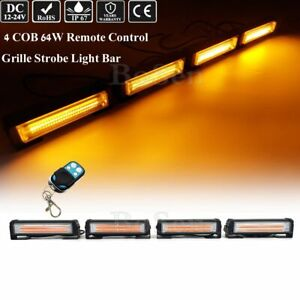 64w Remote Control 4in1 Amber Cob Led Emergency Flashing Grille Strobe Light Bar
