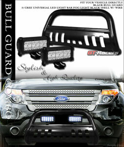 Black Bull Bar Bumper Guard W 36w Cree Led Lights Lamps For 11 19 Ford Explorer