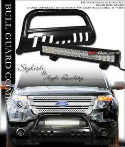 Black Bull Bar Bumper Grille Guard W 120w Cree Led Light For 11 19 Ford Explorer