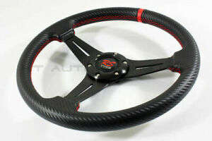 320mm Drift Racing Steering Wheel Carbon Fiber Vinyl Wrapped Grip red Stitched