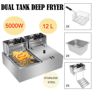 Zokop 12 7qt Commercial Electric Deep Fryer 2 Tank Food Frying Machine 12l 5kw