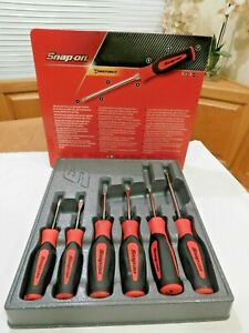 Used Snap on 6 Pc Red Instinct Soft Grip Combination Screwdriver Set